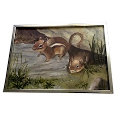 Barb Korkki, Two Adorable Chipmunks Squirrels Oil Painting on Canvas Signed By Artist