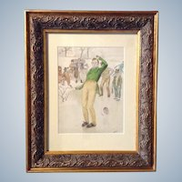 G. B. Fuller, Watercolor Painting Works on Paper, Falling Out of Control Ice Skater Illustration, Signed by Artist, Antique Original
