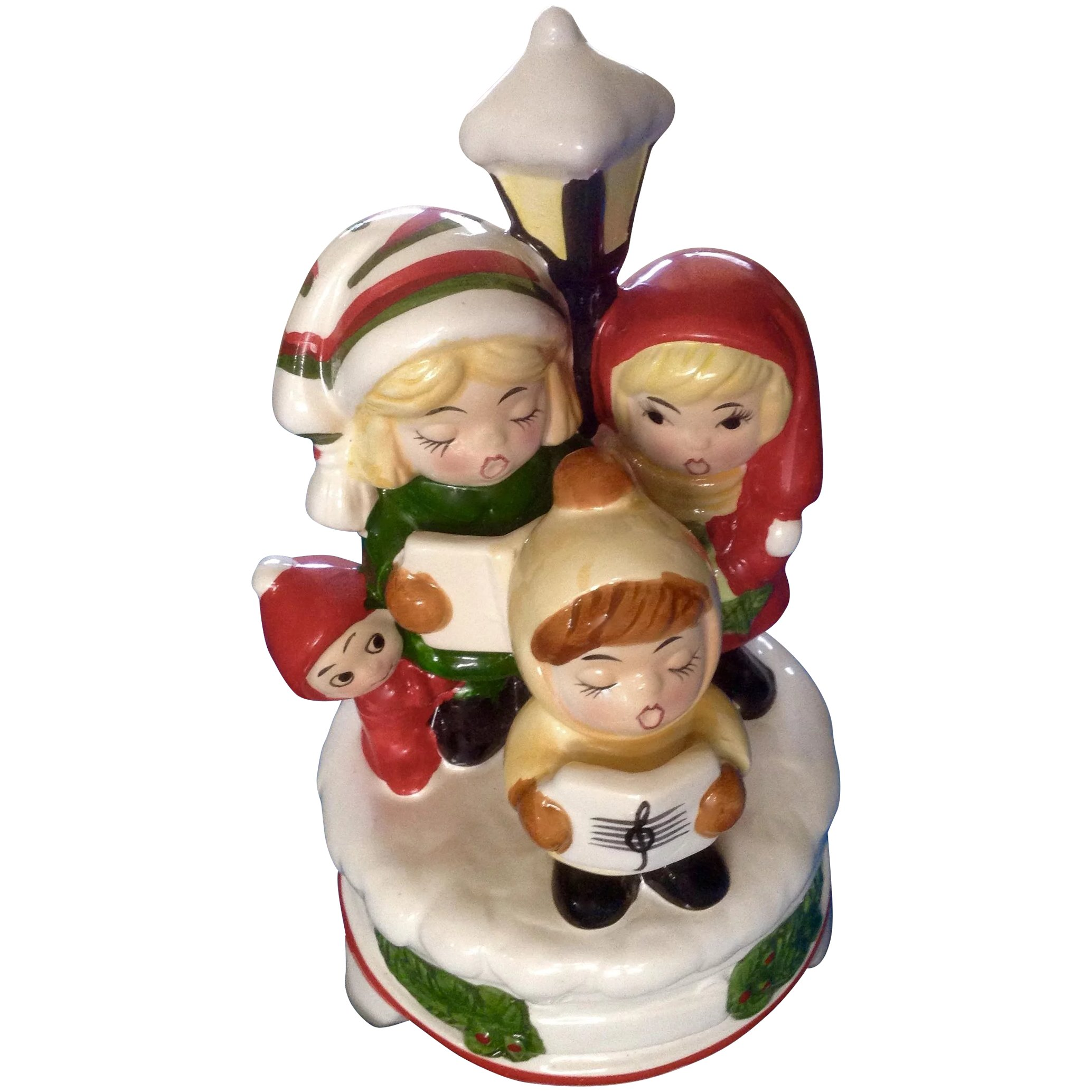 Christmas Carolers Singers Vintage Decorations By: Vintage Christmas Carolers Music Box Ceramic Silent Night