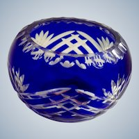 Glass Cobalt Blue Votive Candle Holder Fifth Avenue LTD Cut to Clear Crystal ONE  Bowl with Labels Pattern FIF3