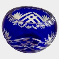 Fifth Avenue LTD Cobalt Blue Cut to Clear Crystal ONE Votive Candle Holder Bowl with Labels Pattern FIF3