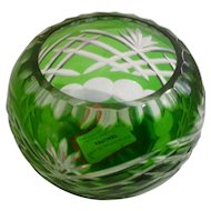 Fifth Avenue LTD Emerald Green Cut to Clear Crystal ONE Votive Candle Holder Bowl with Labels Pattern FIF3
