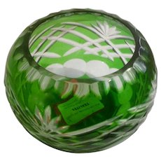 Glass Emerald Green Votive Candle Holder Fifth Avenue LTD  Cut to Clear Crystal ONE Votive Candle Holder Bowl with Labels Pattern FIF3