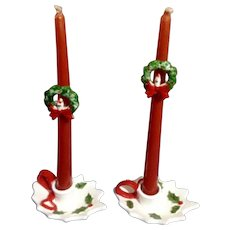 Vintage Lefton Christmas Holly Berry Leaf Ceramic Candle Holders & Huggers 7743 Made in Japan