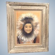 Eskimo Alaskan Girl, Figural Works on Paper, Original Pastel Drawing Painting Cute