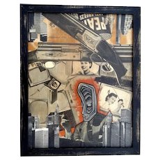 Carson, Titled TV Kills Vintage Newspaper Decoupage Contemporary Art Signed by Artist