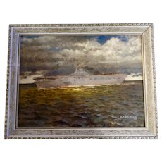 J. R. Macmillan, Aircraft Carrier in the Ocean Oil Painting on Board Signed by Artist