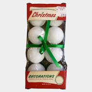 Mid-Century Christmas Decorations Foam Balls New In Box Unused Vintage