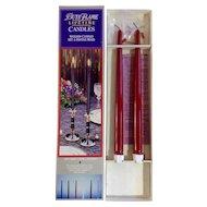 Vintage 12 Inch Red Candles Butane Gas ButaFlame Lifetime Waxless Reusable Candlesticks