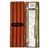 Green Candlesticks 12 Inch Reusable Melbern Uses Liquid Lighter Fluid or White Gas Wax-less