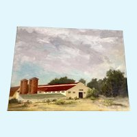 Sheila Marie Littlehorn, Oil Painting on Canvas Panel, Venneford Ranch Buildings Skyscape, Signed by Colorado Artist