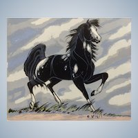 Frank Vigil (1922-1974) Black Mustang Horse with a Smile Serigraph Print Works on Paper