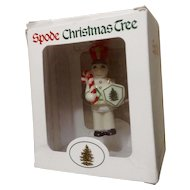 Retired Spode Christmas Tree Ornament Toy Soldier at Arms WHITE Shirt Candy Cane Ceramic Figurine