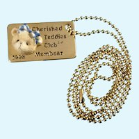 Cherished Teddies Bear Tag Necklace 1998 Retired Club Novelty Collectors Edition