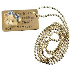 Retired Cherished Teddies Bear Tag 1998 Club Novelty Collectors Edition Necklace