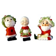Vintage Napco Bone China Miniature Christmas Kissing Santa & Mrs. Claus and Another Santa Spaghetti Trim Japan Figurines