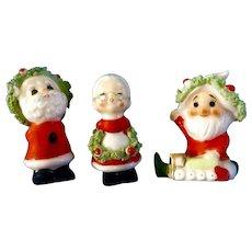 Vintage Napco Bone China Miniature Christmas Kissing Santa & Mrs. Claus and Another Santa Spaghetti Trim Japan Figurines