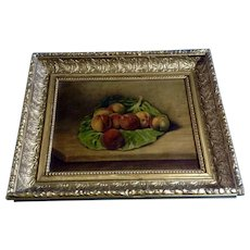 J Finch, Still Life Oil Painting 20th Century Peaches on a Lettuce Leaf Signed by Artist