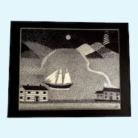 Ernest G Lucas, Ship with a Lighthouse, Pointillism Mixed Media Painting