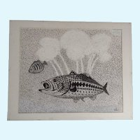Ernest G Lucas, Fish Pointillism Mixed Media Painting