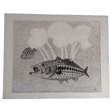 Ernest G Lucas, Fish at the Bottom of a Lake, Pointillism Mixed Media Painting Works on Paper Signed by Texas Artist