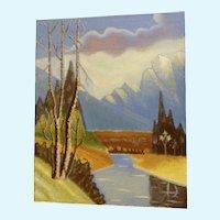 Ernest G Lucas, Mount Rainier with River Oil Painting