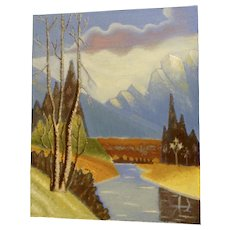 Ernest G Lucas, Oil Painting on Board Mount Rainier with River Signed by Texas Artist