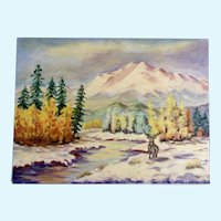 Dot Nix, Primitive Elk in Winter Landscape Oil Painting