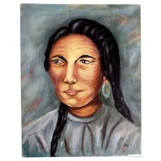 Dot Nix, Indian Woman Portrait Oil Painting on Canvas Panel Board Signed By Artist
