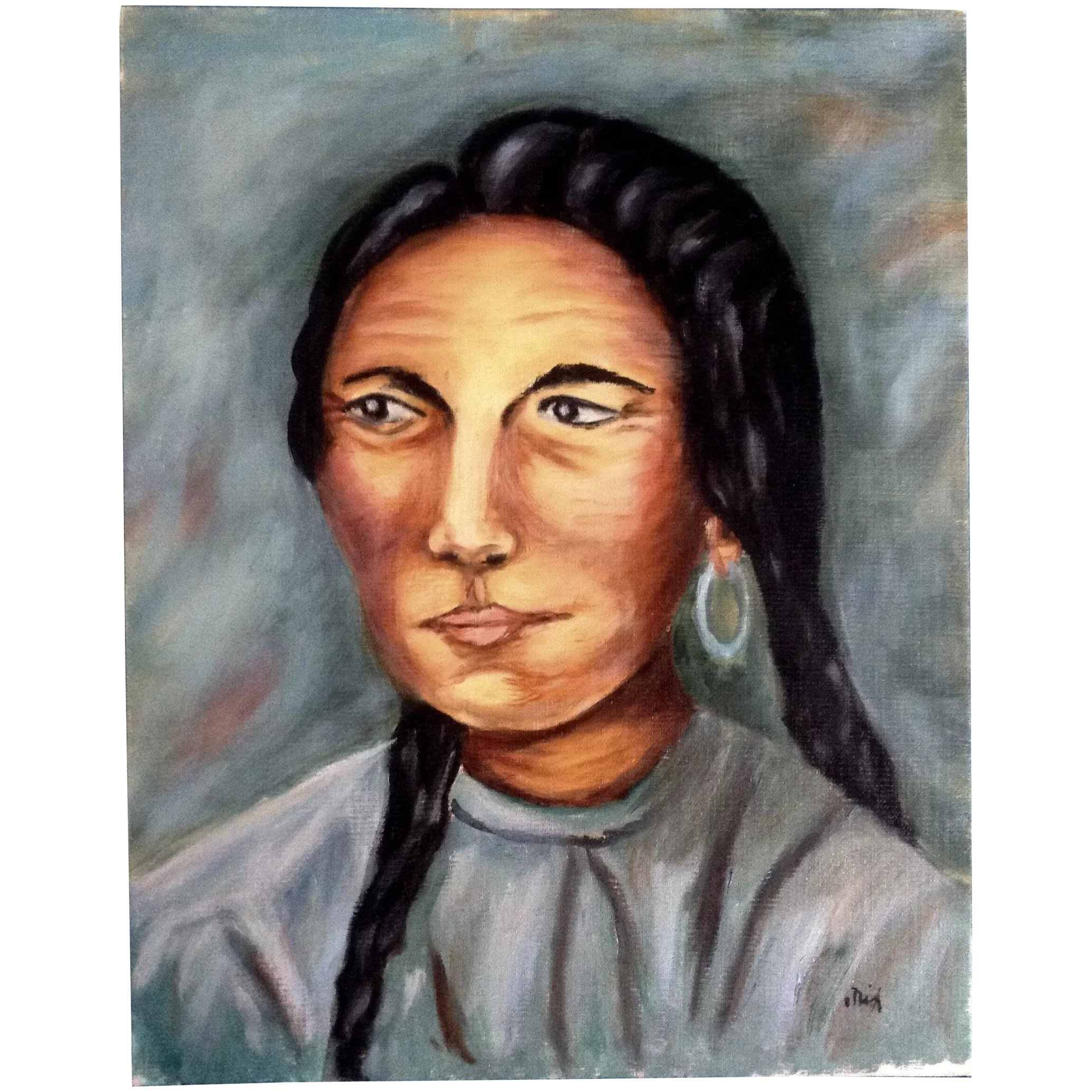 Dot Nix Indian Woman Portrait Oil Painting On Canvas Panel Board Signed By Artist