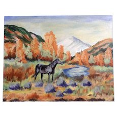 Dot Nix, Black Horse in Autumn Field Oil Painting on Canvas Panel Board Signed By Artist