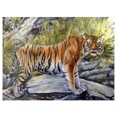 Helmut Adomite, Tiger at the River Oil Painting on Canvas Signed by Wildlife Artist