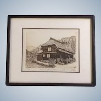 Hiroto Norikane Etching Farm House 55, 1986 Signed and Numbered by Listed Artist Works on Paper Limited Edition