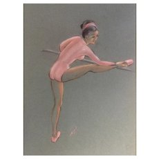 Ballerina Stretching Pastel Works on Paper Initialed By Artist Pink Mat Unframed