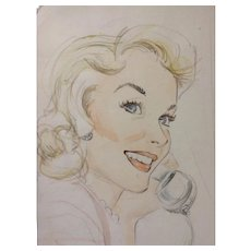 Godfrey, Pinup Girl Beautiful Woman on a Telephone Watercolor Painting and Pencil Mixed Media Works on Paper