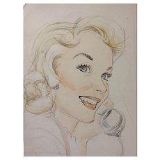Godfrey, Pin Up Girl Beautiful Woman Watercolor Painting and Pencil