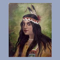Portrait Native American Indian Maiden 19th Century Oil Painting Unsigned