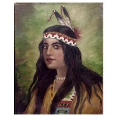 Native American Indian Maiden with Long Black Hair, 19th Century Oil Painting on Canvas Unsigned