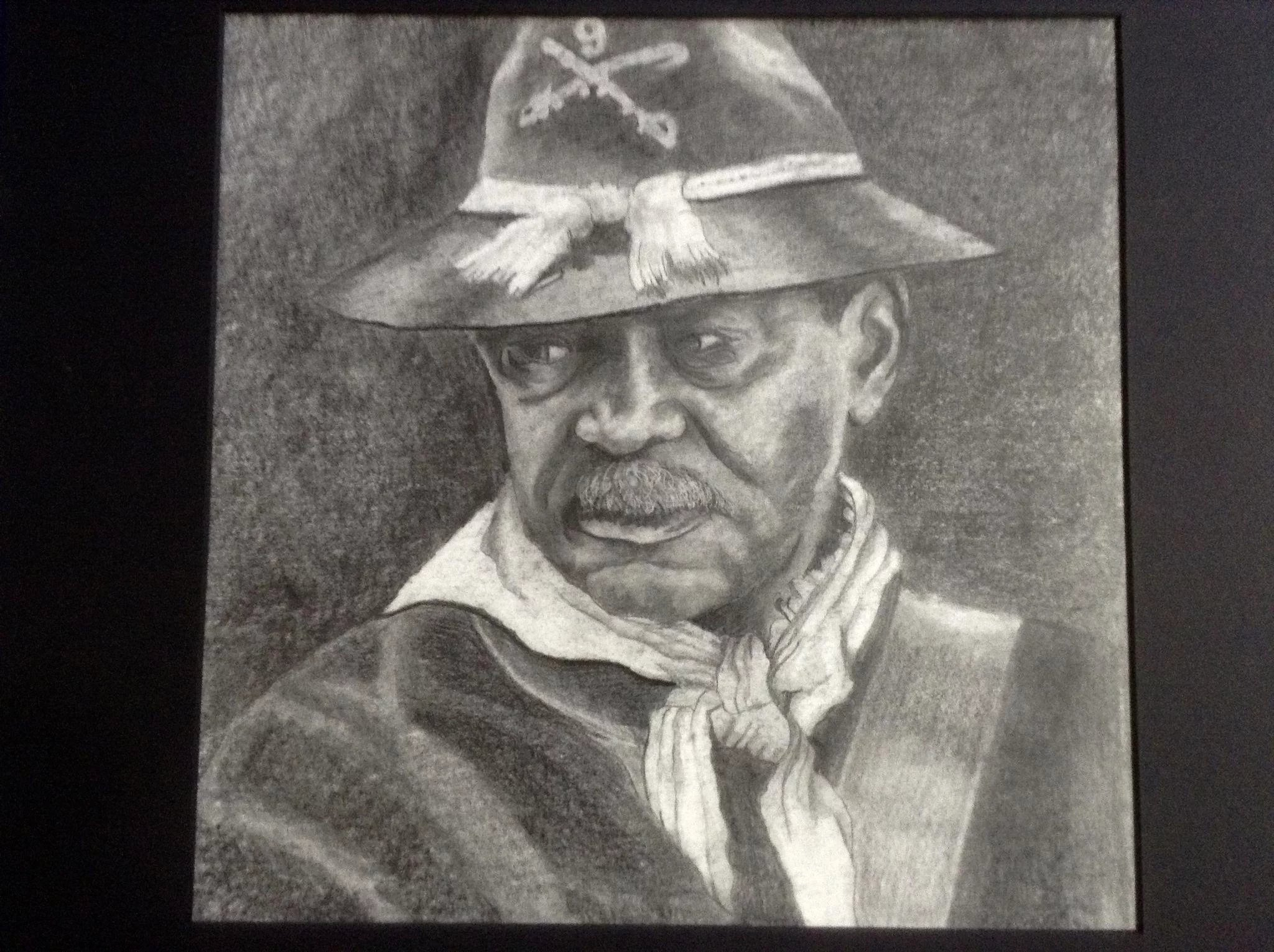Union soldier from the civil war graphite pencil drawing black americana works on paper