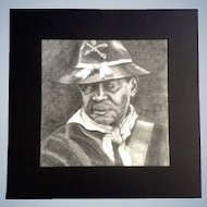 Union Soldier from the Civil War, Graphite Pencil Drawing Black Americana Works on Paper