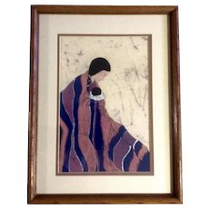 Dolores Smith, Original Fabric Batik Painting of Indian Woman Wrapped in a Blanket with a Papoose Baby Signed by Artist