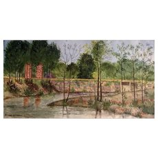 Norine Heyndon, Watercolor Painting of a Culvert by Road, Works on Paper Signed by Artist