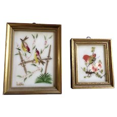 Vintage Miniature Bird & Butterfly Oil Paintings on White Plastic Made in Spain Signed By Artist