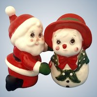 Christmas Santa Snowman Salt and Pepper Shakers Geo Lefton Ceramic Figurines Japan