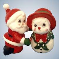Christmas Santa Snowman Salt and Pepper Shakers Geo Lefton Ceramic Figurines Japan