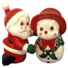 Geo Lefton Santa and Cute Girl Snowman Salt and Pepper Shakers Ceramic Figurines Japan
