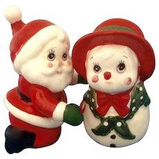 Geo Lefton Santa and Cute Girl Snowman Salt and Pepper Shakers Ceramic Figurines Japan