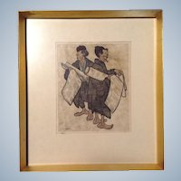 Hans Kleiss  (1901-1973), Works on Paper Woodcut Print Hand Colored Etching Painting Signed by Orientalist Artist