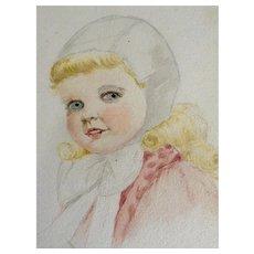 Little Girl Watercolor Painting Works on Paper Art Deco Era Elgin, Illinois