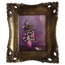 Small Floral Purple Bouquet Original Oil Painting on Board Turner MFG. Co.10121 Frame